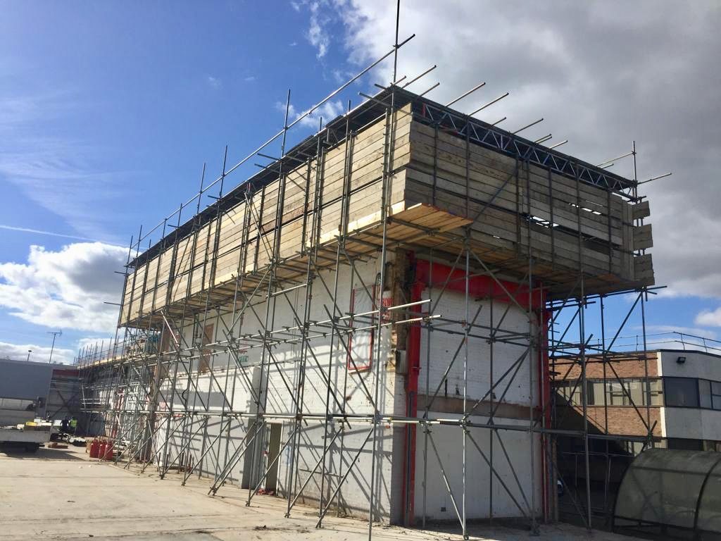 Earls Scaffolding - Access & Temporary Roof Scaffolding - Apex Demolition - Cross Key Homes - Industrial Scaffolding