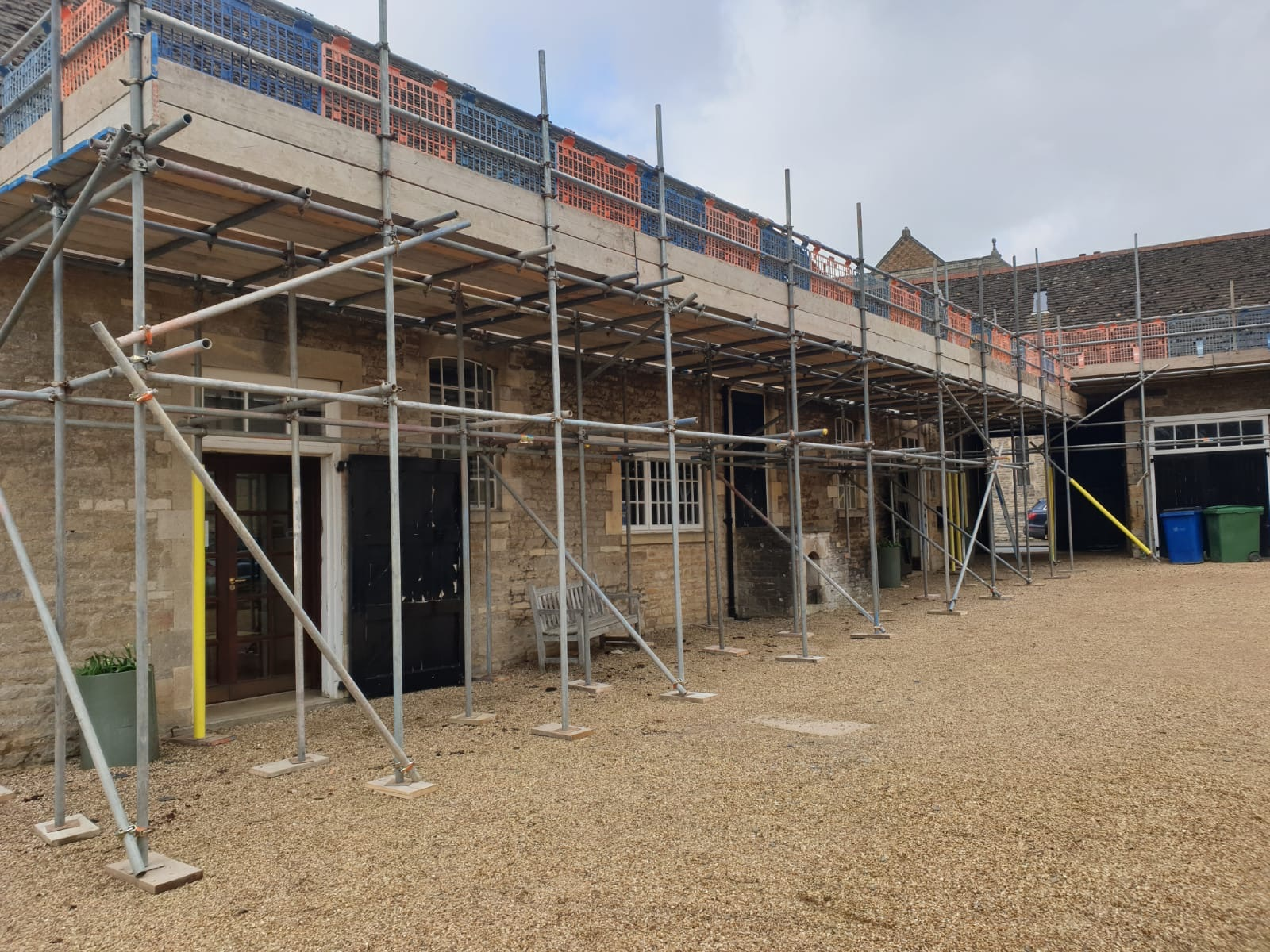 Earls Scaffolding - Independent Scaffolding Re-roofing - Oundle School - Commercial Scaffolding